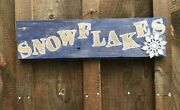 Snowflake Sign Hanging Salvaged Old Barn Wood Blue
