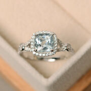 Cushion 1.85 Ct Natural Diamond Engagement Ring Solid 14k White Gold Size 6 7 8