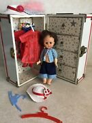 Vintage Nancy Ann Doll, Clothing Metal Trunk Closet/4 Drawers And Accessories.