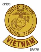 Marine Corps Vietnam Brown On Gold Iron On 2 Patches Set For Biker Jacket