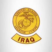 Marine Corps Iraq Brown On Gold 2 Patches Set Iron On For Biker Vest And Jacket