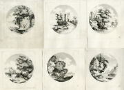 6 Rare Antique Master Prints-series Landscapes-french-lebxxx-anonymous-c.1700