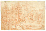 Antique Drawing-musicians-dance-victory-rooster-eagle-anonymous-late 17th.c.