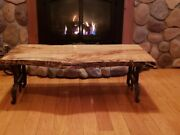 Andnbsplive Edge Table Spalted Maple Finished With Epoxy On Antique Legs