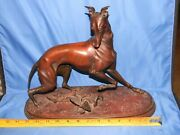 Vintage Whippet And The Butterfly Statue / Sculpture By Arthur Waagen