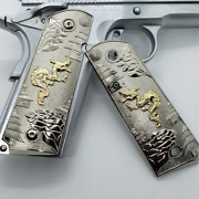 1911 Full Size Grips Nickel Plated Dragon W Ambi Safety T-t62