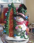Ceramic Bisque Hand-painted Welcome Frosty Snowman