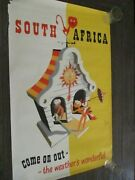 1949 South Africa Tourism Travel Poster Bernard Sargent Come On Out Rare