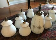 50 Reduction - 9 Vintage French Frosted Glass Hanging Pendants