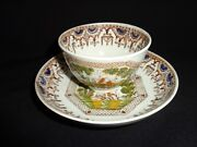 Marked Antique 19th.c Salopian Soft Paste China Classic Figures Cup And Saucer, J