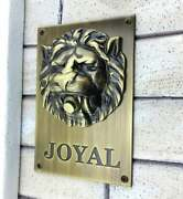 Large Solid Brass Lion Head Push Button Doorbell Personalized Engraved Name