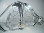 Thick Mid Century Glass Carved Owl Sculptures Bookends Large Signed Pieces