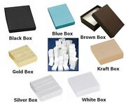 100 Cotton Filled Boxes 3.5x3.5x 1 For Gifts Jewelry Etc. You Choose Color.