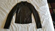 Rick Owens Extra Small Xs 46 Black Calf Leather Stooges Biker Jacket S/s 10