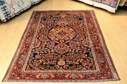 Authentic Antique Rug 5and0393 X 6and0392 Vintage Lilihan Rug Blue Background Circa 1900