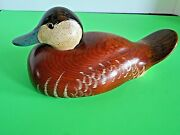 Vintage 1982 Big Sky Carvers Wooden Ruddy Duck Decoy Carved/signed C Fellows