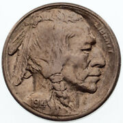 1914-s 5c Buffalo Nickel In Au Condition, Excellent Eye Appeal, Strong Luster