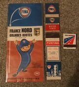 Fina Michelin Gasoline Road Map + 3 Matchbooks - Oil Sign Can Purfina Huile