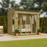 12x6 Pressure Treated Apex Summerhouse With Long Side Window Double French Door