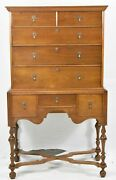 William And Mary Style Don Works Five Forks Cabinet Shop Bench Made Highboy Rare