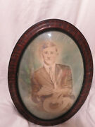 Vtg 1800and039s Cowboy Antique Picture Frame Oval Tiger Wood Bubble Glass 13.5 X 19.5