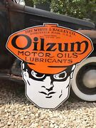 Antique Vintage Old Style Oilzum Gas Motor Oil Sign