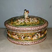 Capodimonte Majolica Italy Porcelain Large Lidded Box Approx 10.25d × 7h