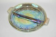 Vintage Dark Clear Iridescent Carnival Glass Divided Serving Candy Dish