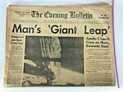 Man Walks On The Moon 1969 Newspaper Neil Armstrong Apollo 11 The Evening