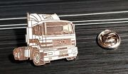 Man Pin Truck Tractor White Enamelled - Dimensions 1 7/32x1 1/16in