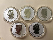 2014 Canada 5 Maple Leaf Reverse Proof Horse Privy Mark Silver Coin Lot Of 10