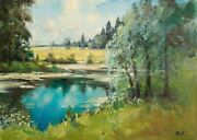 The Pond Painting By Mark Kremer B.1928 Original Oil Landscape 20x28 Inches