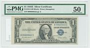 1935-e 1 Fr1614 B00000022i Pmg 50 About Unc Fancy Low Serial Silver Certificate
