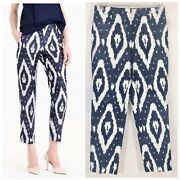 198 J.crew Collection Size 2 Cigarette Pants In Silk Shantung Ikat Print Blue
