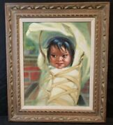 Grace Gay May Betts Native American Baby Child In Papoose Oil Painting On Canvas