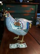 Large Old Or Antique Chinese Cloisonne Chicken Sculpture 20th Century