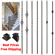 Iron Stair Balusters Metal Stair Spindles - Satin Black Hollow Wrought Iron