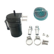 Black Aluminum Baffled Oil Catch Can Tank Reservoir Breather With Fittings Solid