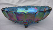 Vintage Iridescent Blue Indiana Carnival Glass Oval Footed Bowl, Harvest. Exc.