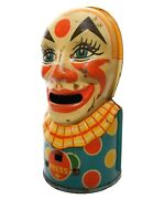 Julius Chein And Co, Ny Early 20th C Vint Lithographed Tin Mechanical Clown Bank