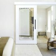 Mirrored Handcrafted Sliding Barn Door With Mirror Insert In 12 Frosted Designs