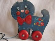 Vintage Wood Rolling Wheels Red Ribbon Cat Pull Toy Blue