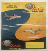 1961 Iberia Airlines Timetable Booklet W/ Route Map