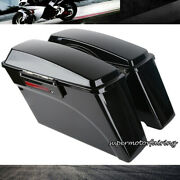 Black Hard Saddle Bags Trunk W/ Lid Latch Key For Harley Touring Road King 94-13