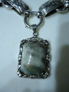 Antique Fine Victorian Engraved Wide Silver Book Chain Necklace And Agate Pendant
