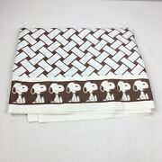 Vintage Peanuts Snoopy Twin Flat Top Bedsheet Sheet Fabric Brown And Ivory