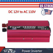 1500w Car Vehicle Power Inverter Converter Dc 12v To Ac 110v Usb Charger Adapter