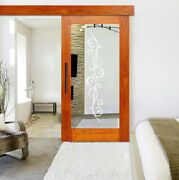 Mirror Mahogany Wood Sliding Barn Door With 12 Different Frosted Designs