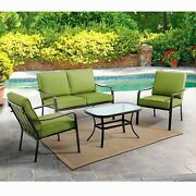 Outdoor Seating Area Cushioned Patio Loveseat Set Deck Chairs Glass Top Green 4