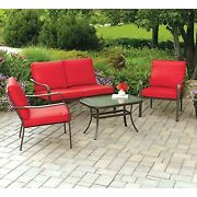 Outdoor Seating Area Cushioned Patio Loveseat Set Deck Chairs Glass Top Red 4 Pc
